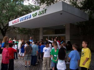 Students waiting to enter the DMA