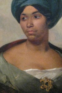 Detail of Portrait of a Woman in a Blue Turban by Eugene Delacroix, c. 1827
