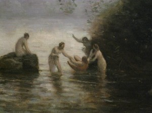 Detail of The Bath of Diana by Jean-Baptiste-Camille Corot, c. 1855