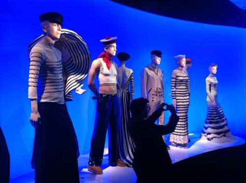 Animated sailor mannequins with Gaultier's  fashions in his iconic marinière (sailor striped shirt) motif