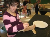One of Susan's students working on a sculpture