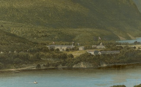 "David Johnson, ""View from Garrison, West Point, New York"" (detail of United States Military Academy), 1870, oil on canvas, Dallas Museum of Art, The Patsy Lacy Griffith Collection, gift of Patsy Lacy Griffith by exchange, and General Acquisitions Fund, 2012.6"