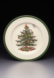 Harold Holdway (designer), Regimental Oak shape dinner plate with Christmas Tree pattern, designed 1938, Dallas Museum of Art, gift of Stephen Harrison in honor of George Roland.