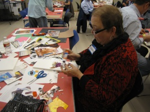 Deborah creating her collage