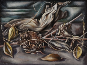 Loren Mozley, Driftwood, Birdsnests, and Milkweed Pods, 1943–44, oil on canvas, Private Collection, Dallas
