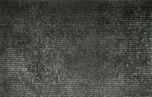 Glenn Ligon, Untitled, 2002, coal dust, printing ink, oil stick, glue, acrylic paint, and gesso on canvas, Dallas Museum of Art, DMA/amfAR Benefit Auction Fund