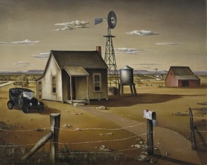 Charles T. Bowling, Mason County Landscape, 1938, egg tempera on composition board, Dallas Museum of Art, gift of Eleanor and C. Thomas May, Jr.