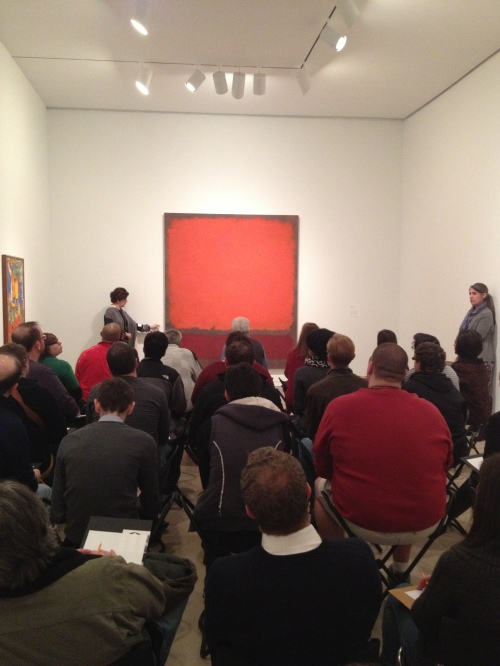 Carol Mancusi-Ungaro discusses Rothko's painting technique with DTC and DMA staff.