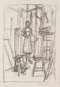 Alberto Giacometti, Annette in the Studio, 1954, lithograph, Dallas Museum of Art, gift of Mr. and Mrs. Alfred L. Bromberg