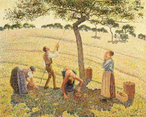 Camille Pissarro, Apple Harvest (Cueillette des pommes), 1888, oil on canvas, Dallas Museum of Art, Munger Fund