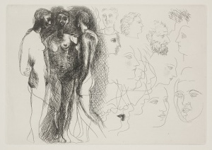 Pablo Picasso, Three Standing Nudes, at Right, Sketches of Heads (Trois nus debout, à droite esquisses de têtes), 1927, etching, Dallas Museum of Art, Dallas Art Association Purchase