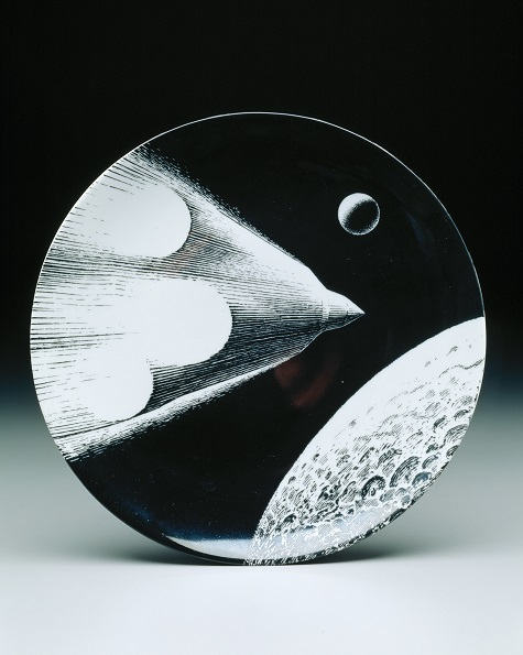 "Piero Fornasetti, Richard Ginori Porcelain, Le retour (The Return) plate from the ""Man in Space"" series, designed 1966, porcelain, transfer-printed, Dallas Museum of Art, gift of Michael L. Rosenberg"