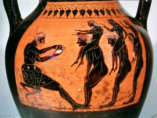 Black-figured amphora, Greek, made in Athens, about 540-520 BC, attributed to the Swing Painter, probably from Etruria, Italy, GR 1837,0609.65 (Vase B182) © The Trustees of the British Museum (2013). All rights reserved.
