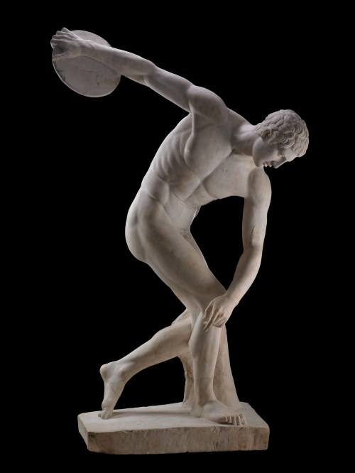 Marble statue of discus thrower (diskobolos), Roman period, second century AD, after a lost Greek original of about 450–440 BC, from the villa of the emperor Hadrian at Tivoli, Italy, GR 1805,0703.43 (Sculpture 250) AN 396999, © The Trustees of the British Museum (2013). All rights reserved.