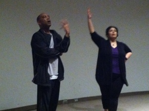 Actors Hassan El-Amin and Christie Vela lead training for the DMA's docents
