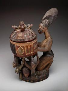 Olowe of Ise, Kneeling female figure with bowl (olumeye), c. 1910 to c. 1938, Nigera, Effon-Alaiye, Yoruba peoples, Dallas Museum of Art, The Eugene and Margaret McDermott Art Fund, Inc.