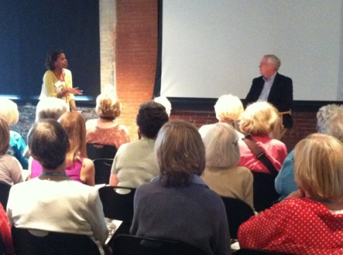 Sharron Conrad and Gary Mack speak with the DMA's docents at The Sixth Floor Museum