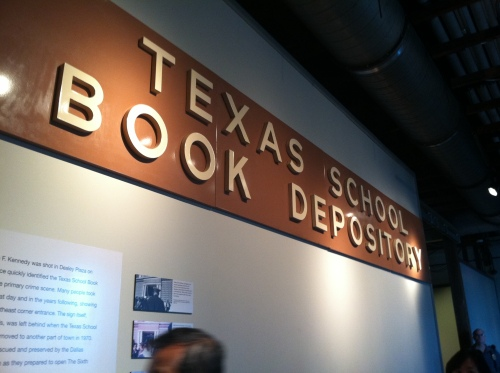 The original sign from the Texas School Book Depository on display at The Sixth Floor Museum