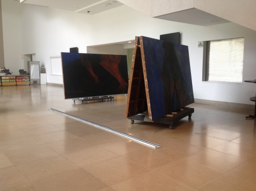 El Hombre (Man), comprised of three panels, in transit to its new home.