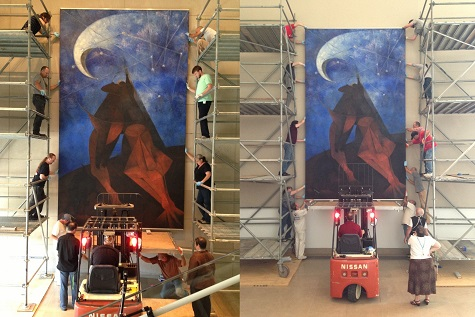 Rufino Tamayo's El Hombre (Man) being de-installed from the Ross Avenue entrance (left) and the rehanging in the DMA Atrium (right).
