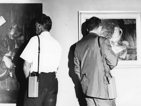Visitors using audio tour, circa 1960s [Photography by Pat Magruder]