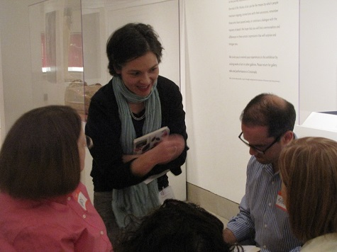 Dr. Magdalena Grohman and visitors responding to works of art