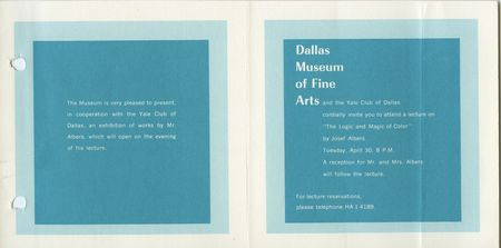 Invitation to Josef Albers lecture at the DMFA,