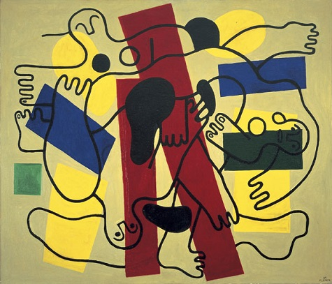 Fernand Léger, The Divers (Red and Black), 1942, oil on canvas, Dallas Museum of Art, Foundation for the Arts Collection, gift of the James H. and Lillian Clark Foundation