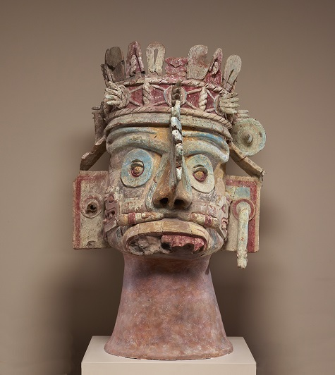 Head of the rain god Tlaloc, Mixtec, Late Postclassic period, c. 1300-1500, ceramic, tufa, stucco, and paint, Dallas Museum of Art, gift of Mr. and Mrs. Stanley Marcus in memory of Mary Freiberg