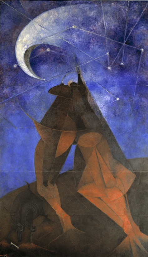 Rufino Tamayo, El Hombre (Man), 1953, vinyl with pigment on panel, Dallas Museum of Art, Dallas Art Association commission, Neiman-Marcus Company Exposition Funds