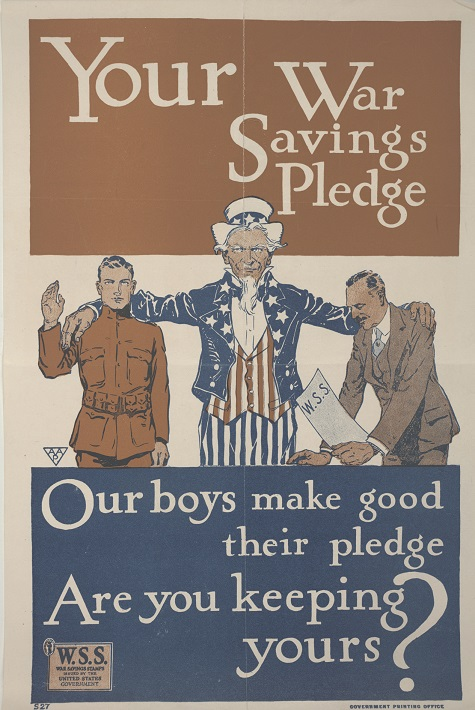 Unknown, Your War Savings Pledge. Our Boys make good their pledge. Are you keeping yours?, United States Department of the Treasury, Government Printing Office, 1917, color offset lithograph, Dallas Museum of Art, gift of Marcia M. Middleton in memory of Joel Middleton