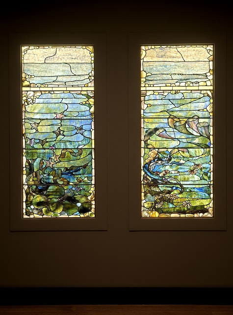 "Window with Starfish (""Spring"") and Window with Sea Anemone (""Summer""), c. 1885-1895, Louis Comfort Tiffany, Tiffany Glass and Decorating Company, glass, lead, iron, and wooden frame (original), Dallas Museum of Art, The Eugene and Margaret McDermott Art Fund, Inc."
