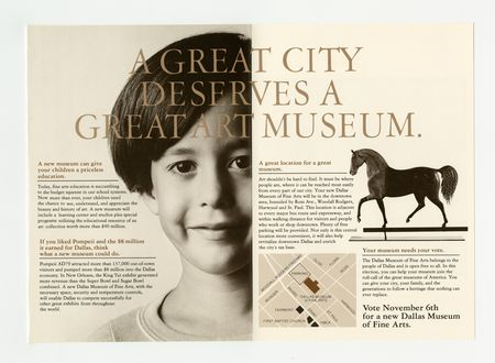 "Brochure with slogan ""A great city deserves a great art museum"" encouraging Dallas residents to vote ""yes"" in the 1979 bond election providing funds to build the new Dallas Museum of Art."