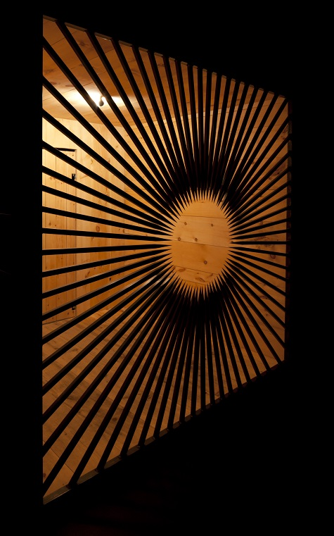 Jim Hodges, the dark gate, 2008, wood, steel, electric light, perfume, paint, flooring, Private Collection