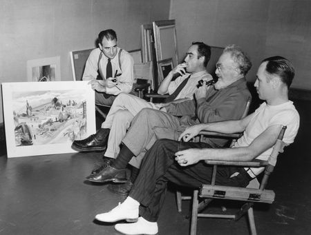 Jurors for the 1941 Texas General exhibition: Richard Foster Howard, John McCrady, Boardman Robinson, and W. Whitzle (L to R)