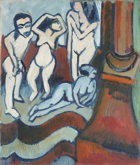 Ernst Ludwig Kirchner, Four Wooden Sculptures (recto), 1912, oil on canvas, Dallas Museum of Art, The Eugene and Margaret McDermott Art Fund, Inc.