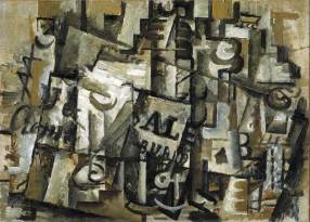Georges Braque, Still life with Bottles and Glass, 1912