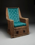 Gustav Stickley, The Craftsman Workshops, Willow armchair, c. 1913, willow and upholstery (replaced), Dallas Museum of Art, Discretionary Decorative Arts Fund