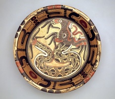 Tripod plate with plumed serpent, Mexico, state of Veracruz, south-central region, Los Tuxtlas area, early Postclassic period, c. A.D. 900–1200, ceramic, Dallas Museum of Art, Dallas Art Association Purchase