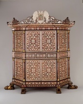 Cabinet, probably Goa, India, Viceroyalty of New Spain, c. 1680–1700, mahogany, mother-of-pearl, ivory, and tortoiseshell, Dallas Museum of Art, gift of The Eugene McDermott Foundation, in honor of Carol and Richard Brettell