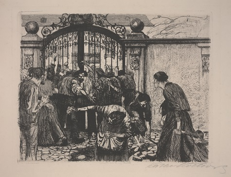 Käthe Kollwitz, Revolt (Sturm), 1897. ink and etching on paper, Dallas Museum of Art, Foundation for the Arts, The Alfred and Juanita Bromberg Collection, bequest of Juanita K. Bromberg