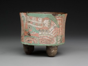 Cylindrical tripod vessel with two goggled figures, Mexico, state of Mexico, Teotihuacan, III, c. A.D. 400–650, ceramic, stucco, and paint, Dallas Museum of Art, Foundation for the Arts Collection, gift of Elizabeth M. and Duncan E. Boeckman