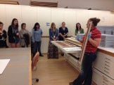 Registrar Anne Lenhart provides a behind-the-scenes tour of the Museum's art storage and object conservator