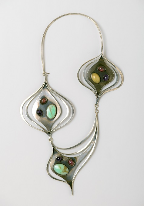 Art Smith, Ellington Necklace, circa 1962, silver, turquoise, amethyst, prase, rhodonite, Brooklyn Museum, Gift of Charles L. Russell, 2007.61.4