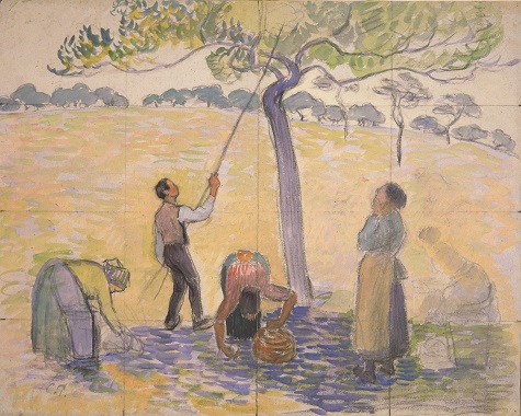 Camille Pissarro, Compositional study for Apple Harvest, c. 1888, watercolor on paper, 6 5/8 x 8 ½ in. (16.7 x 21.5 cm), Whereabouts unknown