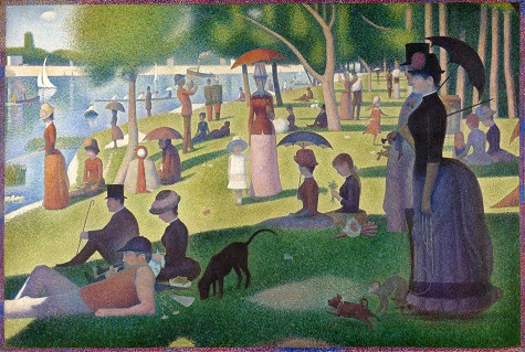 Georges Seurat, A Sunday Afternoon on the Island of La Grande Jatte—1884, 1884-86, oil on canvas, 81 ¾ x 121 ¼ in. (207.5 x 308.1 cm), Art Institute of Chicago, Helen Birch Bartlett Memorial Collection