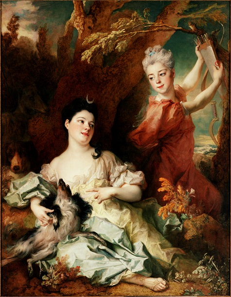 Nicolas de Largillière, Portrait of the Comtesse de Montsoreau and Sister as Diana and an Attendant, 1714, oil on canvas, Lent by the Michael L. Rosenberg Foundation