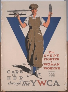 Adolph Treidler, United War Work Campaign, American Lithographic Company, For Every Fighter a Woman Worker. Care for Her Through the YWCA. United War Work Campaign., 1918, color offset lithograph, Dallas Museum of Art, gift of Marcia M. Middleton in memory of Joel Middleton