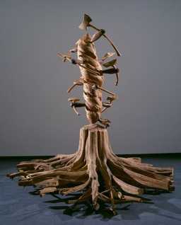 James Surls, Working in the Garden, 1981, oak, elm, poplar, Dallas Museum of Art, gift of Laura Carpenter, the Mary Margaret Munson Wilcox Fund, the Jolesch Acquisition Fund, Museum League Purchase Fund, and the Texas Artists Fund