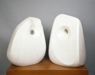 "Barbara Hepworth, ""Contrapuntal Forms (Mycenae),"" 1965, carrara marble and teakwood base, Dallas Museum of Art, gift of Mr. and Mrs. James H. Clark"